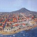"""Veduta di Ercolano com'era 20 secoli fa in una ricostruzione ideale.  (foto tratta da """"I segreti del Vesuvio"""" di Sara C. Bisel)."""